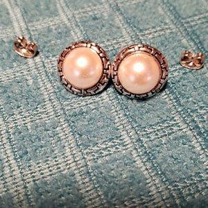White Pearl Post Earrings